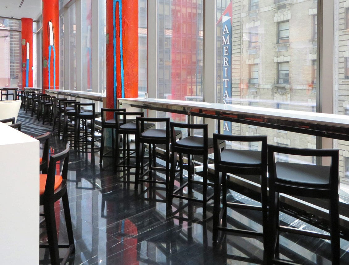 Aceray Brano-6 counter stool along window in New York City hotel lounge area