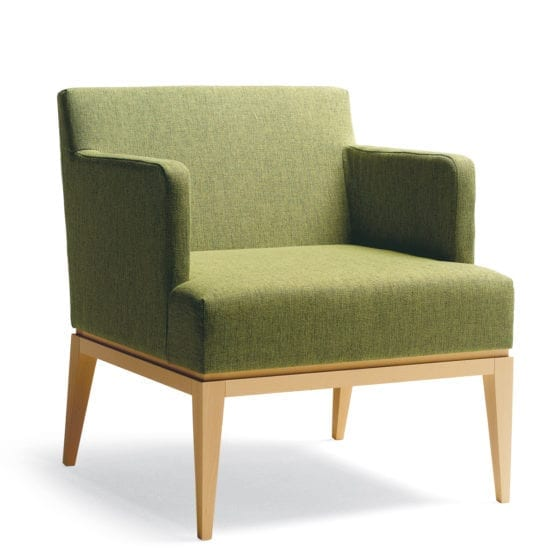 Aceray 783 lounge armchair with beech wood frame and upholstered seat and back