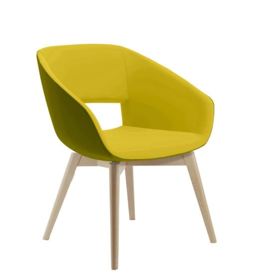Aceray Ampio-3YW armchair with open back and four wood leg base