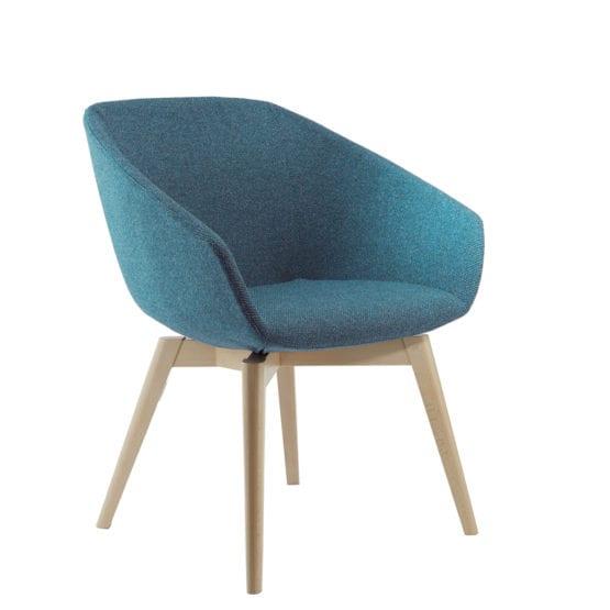 Aceray Ampio-3W armchair with four piece leg wood base