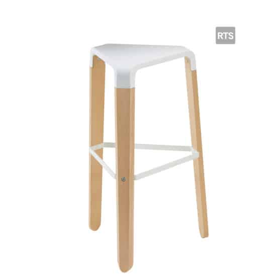 Aceray Sopra5 backless barstool with tripod base and white seat and stretcher