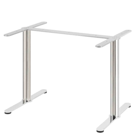Aceray Strato-ADA double table base in polished stainless steel