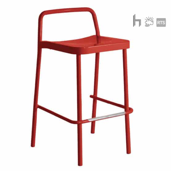 Acertay Astro-5 stacking barstool in red
