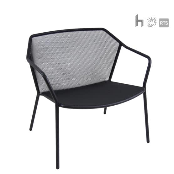 The Aceray LIdo-7 indoor/outdoor stacking lounge chair in black