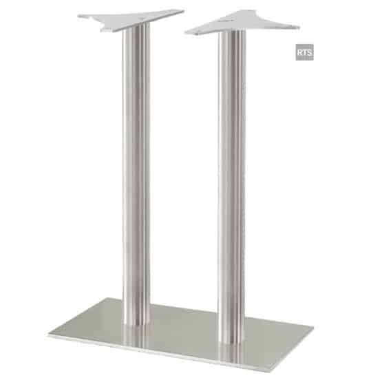 Aceray CAMPO-BR2 two round pole bar height table base with brushed stainless finish