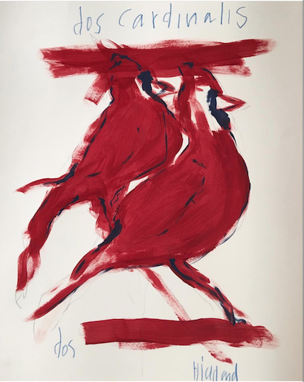 """""""Dos Cardinals"""" Drawing on Paper"""