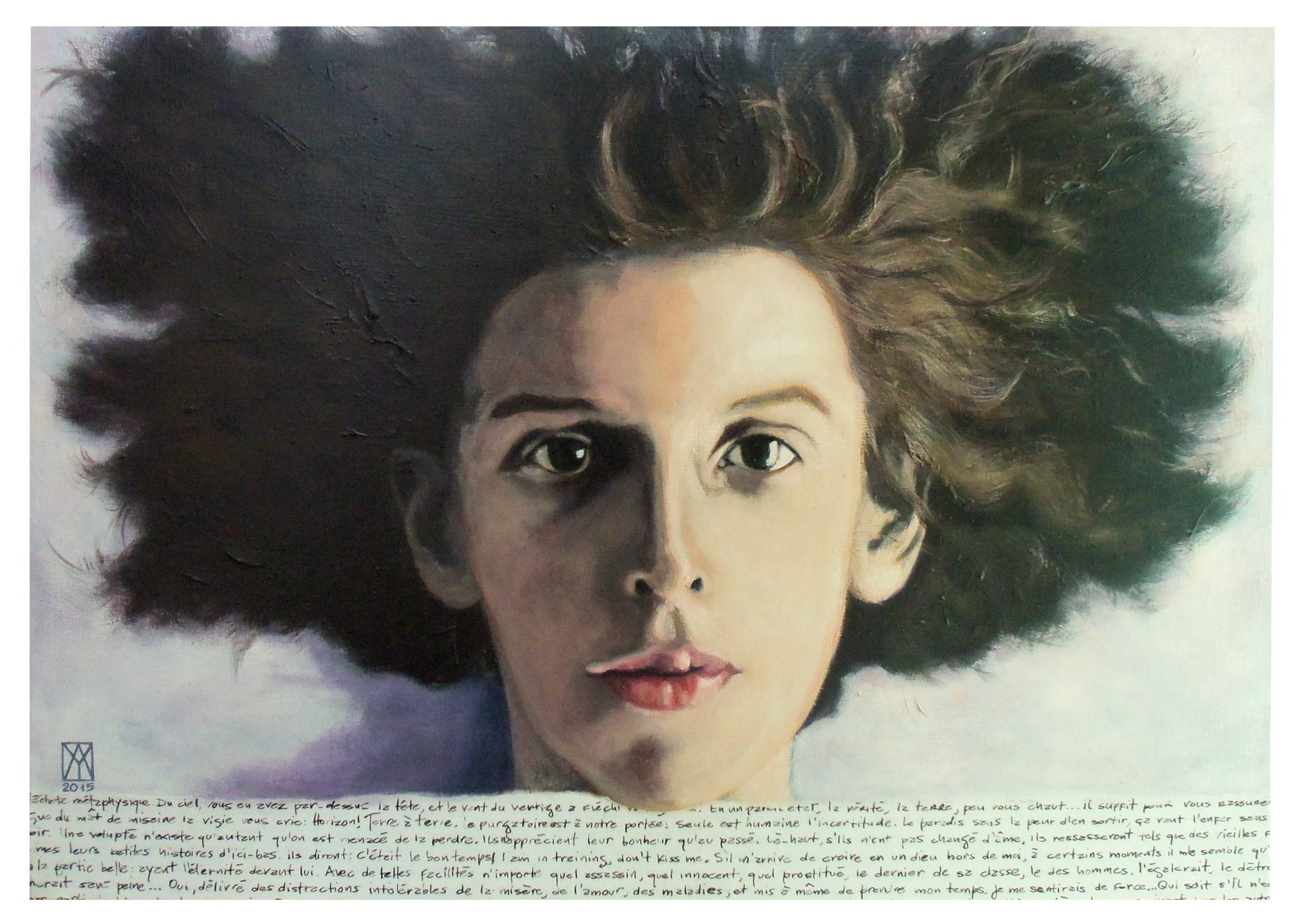 """Yuriel Amaro, Claude Cahun en Méduse, d'après l'autoportrait de 1914, techniques mixtes sur toile, 28"""" x 20"""", 2015"""