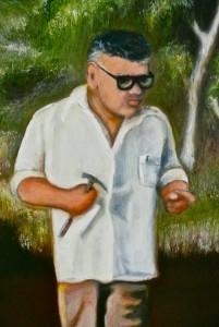 Close up of Gina Rinehart painting