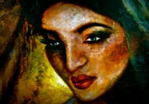 JASMYNA Oil & fabric on canvas 60'x40' FOR SALE $2900