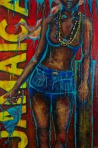 JAMAICA Acrylic & fabric on canvas 107cm x 125cm SOLD