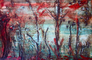 FOREST Wax on board 30cm x 21cm FOR SALE $100
