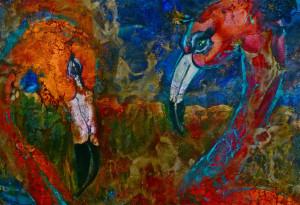 FLAMING FLAMINGO'S 140cm x 101cm Acrylic, Oil & Wax on Canvas SOLD $4000