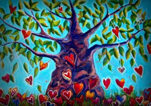 ABUNDANCE TREE RE-LOADED Acrylic on canvas and lace 60' x 40' SOLD $4000