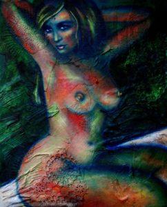 ANNA-CON-DA Acrylic & material on canvas 1m x 80cm SOLD