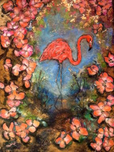 Flamingo Bloom 90cm x 121cm Wax on Board FOR SALE $2600