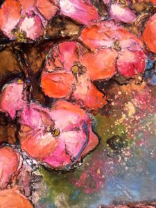 Flamingo Bloom (close up) 90cm x 121cm Wax on Board FOR SALE $2600