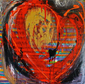 RED & GOLD HEART acrylic