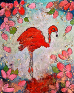 FLAMINGO FEVER 2 46 x 57cm Wax on Board FOR SALE $250
