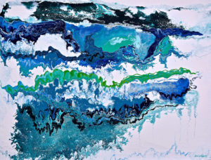 Aqua-Scape 1220cm x 1520cm Acrylic and resin on Board SOLD