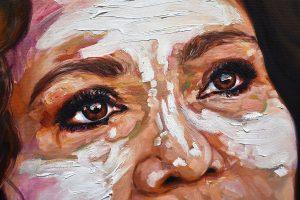 Fire Woman close-up 110cm x 110cm Oil on Canvas For Sale $1800