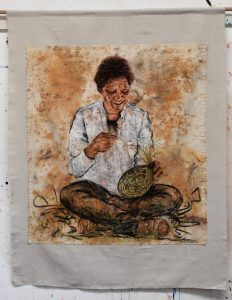Title: Aunty Karleen From: Butchulla, Bundalung and Muningali Country (Three Songlines) Materials: Chalk pastel and charcoal on eco dyed fabric using gum leaves and bottle brush Measurements: 111cm x 142cm Permission to draw this portrait was given by Aunty Karleen herself. For Sale: Please inquire
