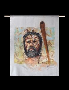Title: Mathew Simms From: Yuin country Materials: Chalk pastel and charcoal on eco dyed fabric using bloodwood and stringy bark gum leaves and acrylic paint Measurements: 113cm x 138cm Permission to draw this person was given by Mathew Simms himself. For Sale: Please Inquire