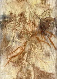 Burnt Orange Fabric: Eco-dye on wool and cotton blend Length 148cm (Shorter Scarf) Price $295