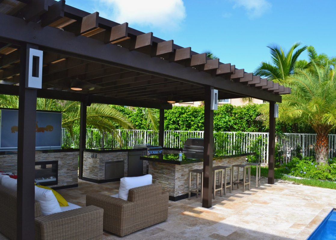 wooden pergola with outdoor kitchen