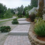 Walkway, Granite Steps, Retaining Wall, Flower Beds – Chester, NH
