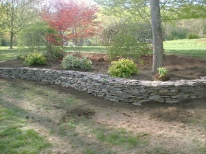 Natural Stone Retaining Wall and Flower Bed - Salem, NH