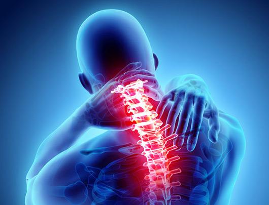 A digital image of human having back pain.