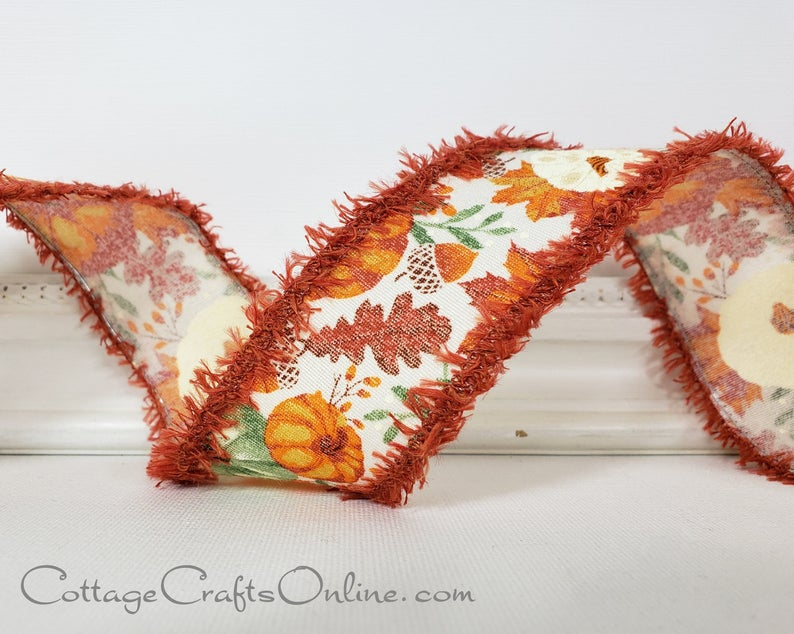 An autumn-themed ribbon with ruffles on the side