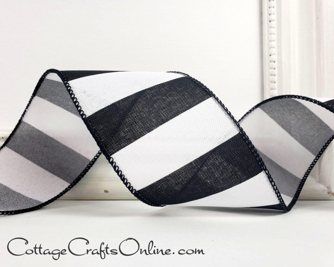 Black White Wide Stripe on Linen Look cb 40-003