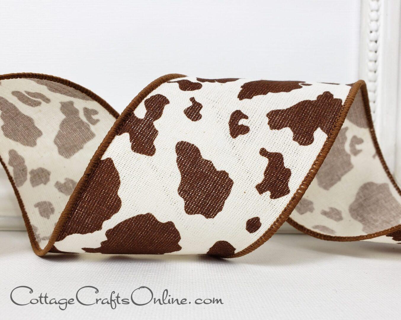 Cow hide print brown ivory 40-004