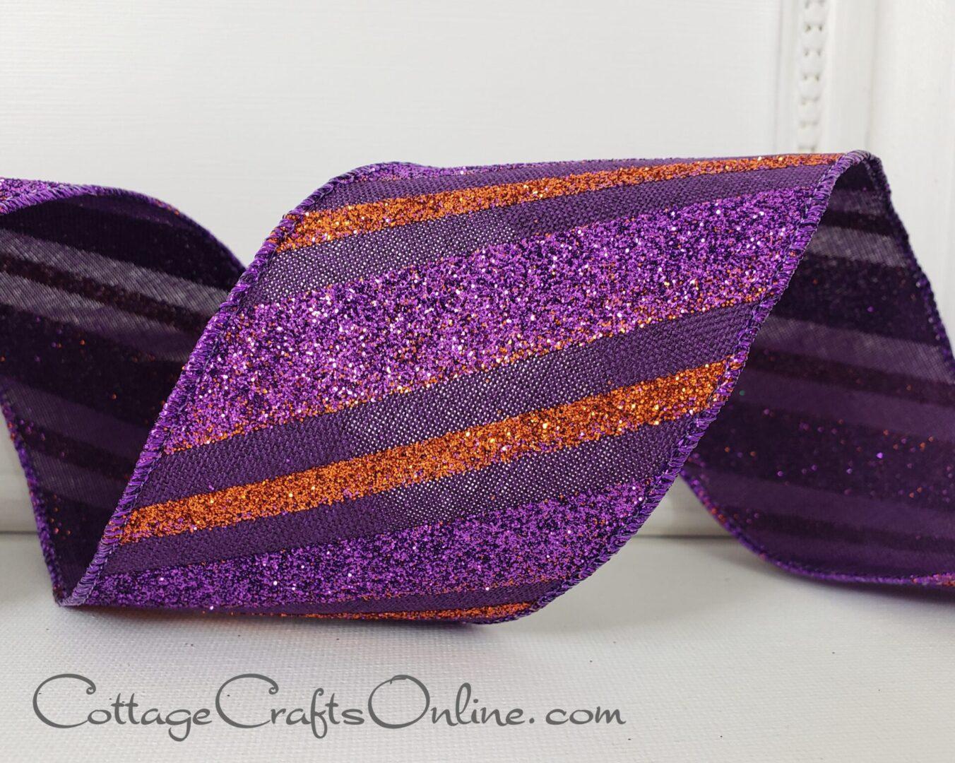 Halloween Diagonal Glitter Stripe Purple Black Orange cb 40-006