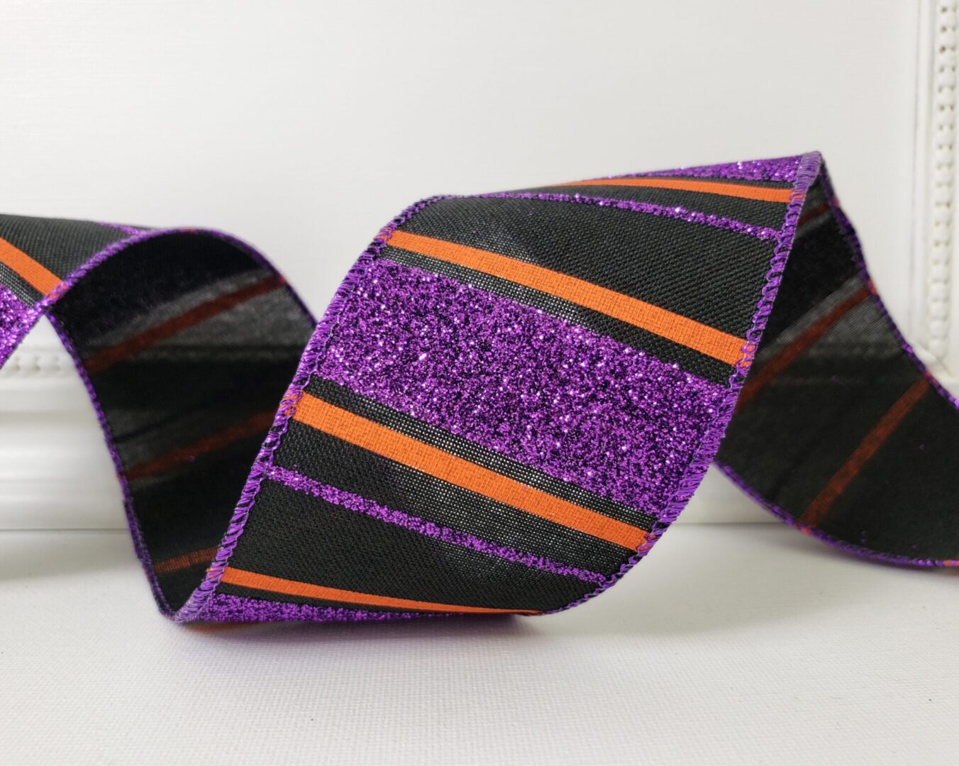 Halloween Purple Glitter Orange Black Stripe cb 40-009