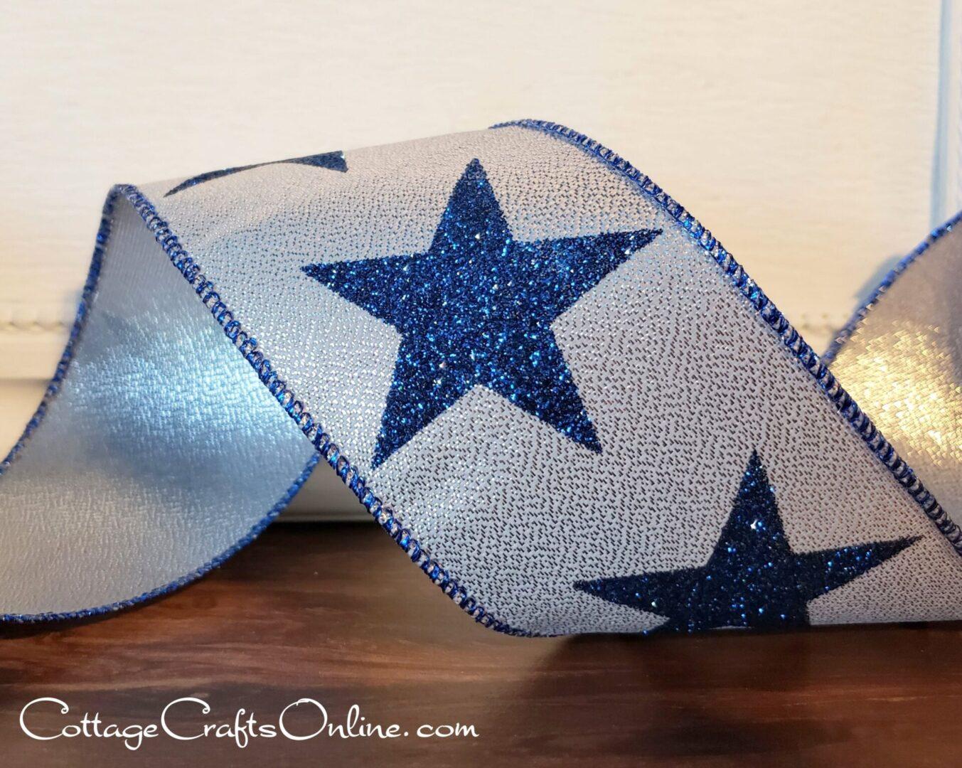 Navy Blue Star Glitter Silver Metallic-011