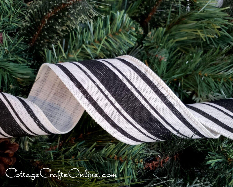 Black Ivory Farmhouse ticking stripe-003