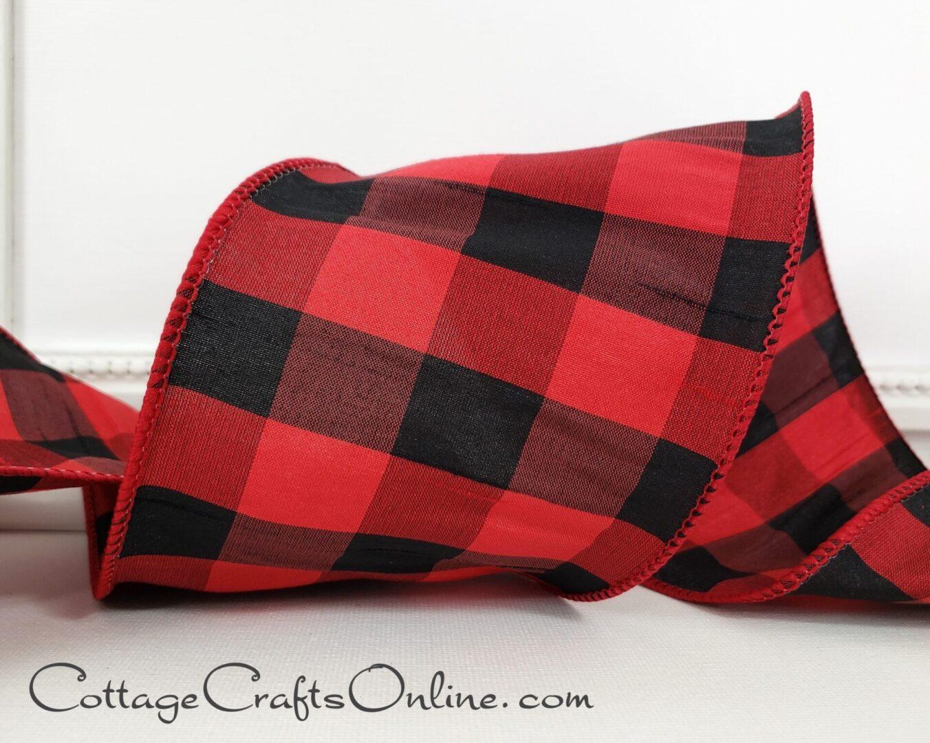 Red black duffalo check plaid dupioni eva-0001