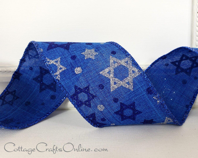 star of david blue linen 40 cb-014
