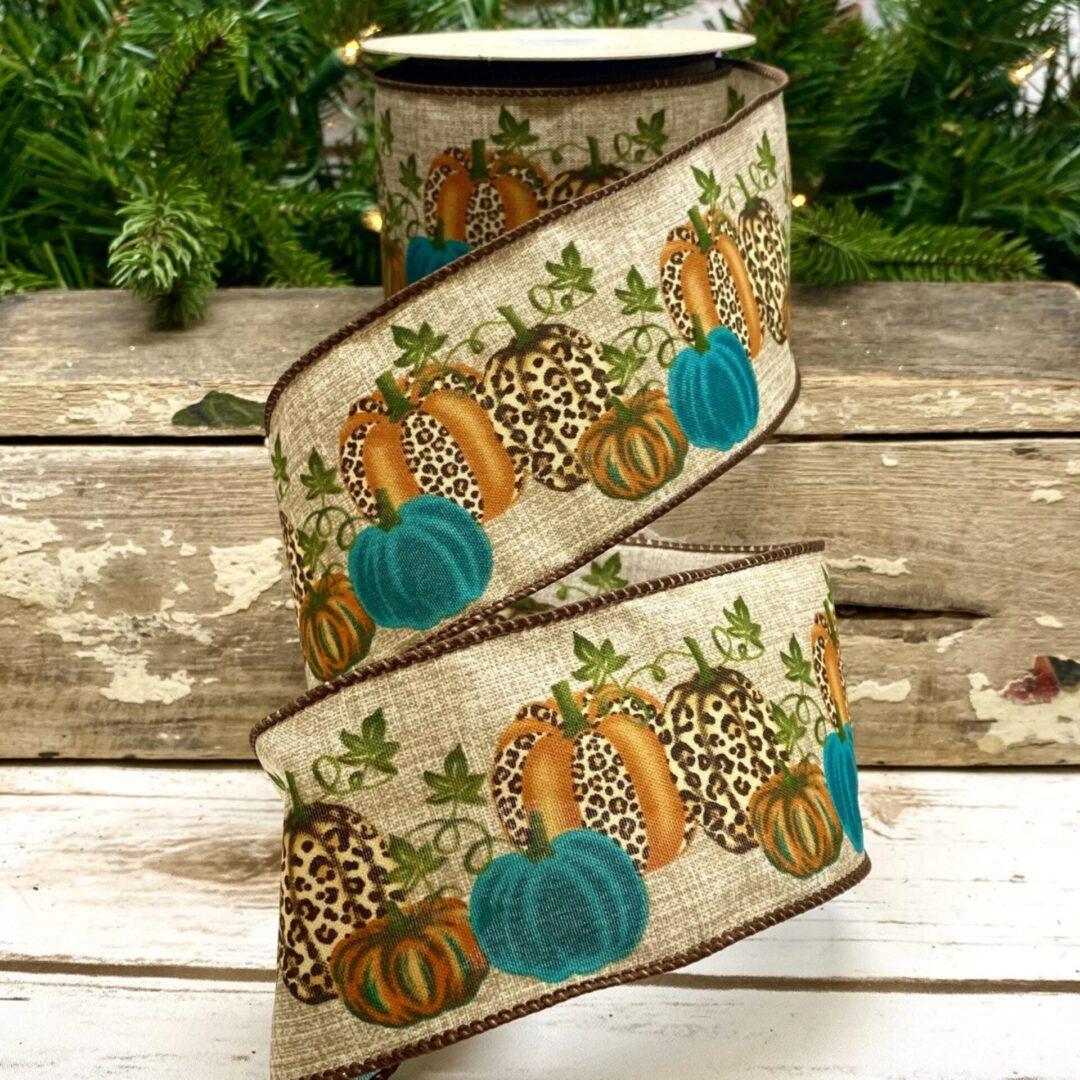 15-7459 teal blue pumpkins leopard ds