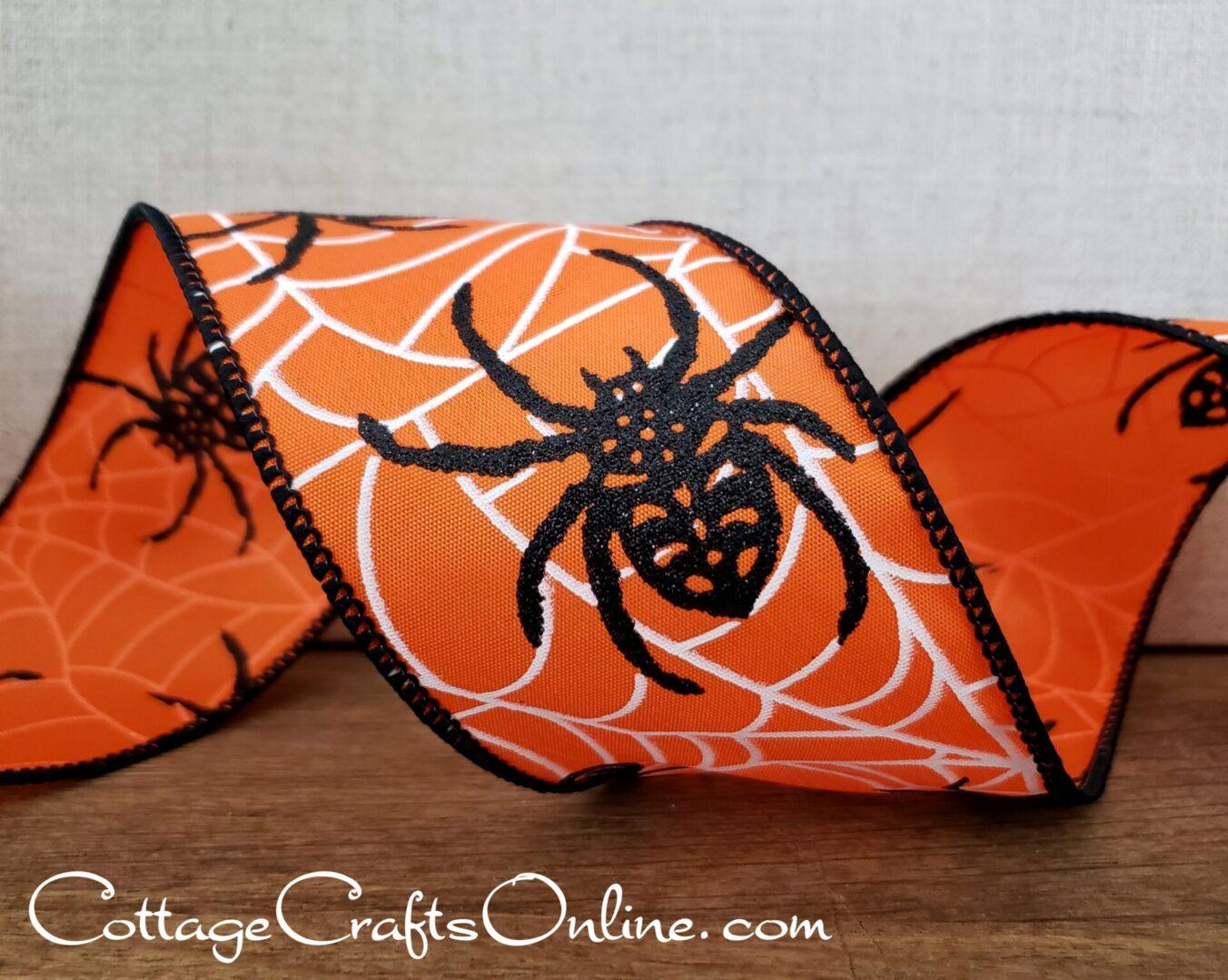 Halloween Spider Black on Orange Satin cb 40-006