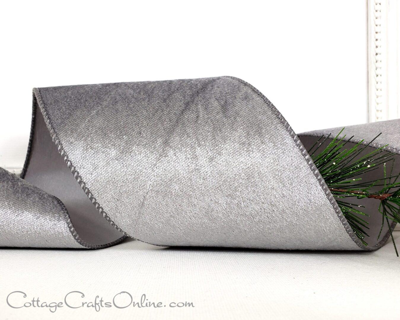 grey silver satin back ribbon-024