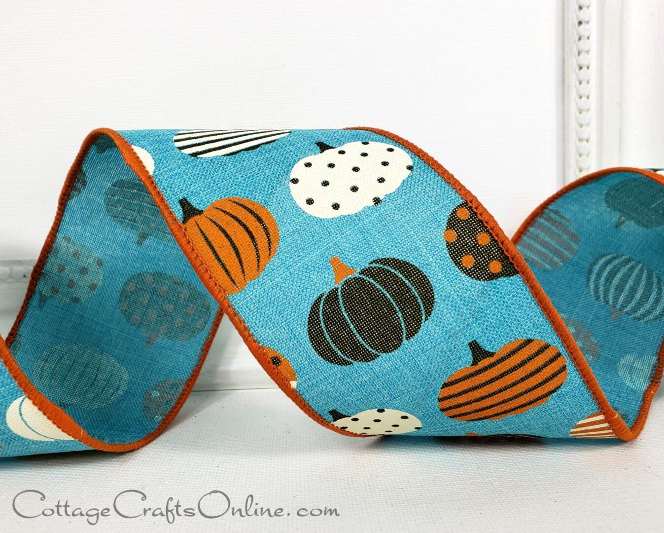 teal blue patterned pumpkins turquoise cb 40-011