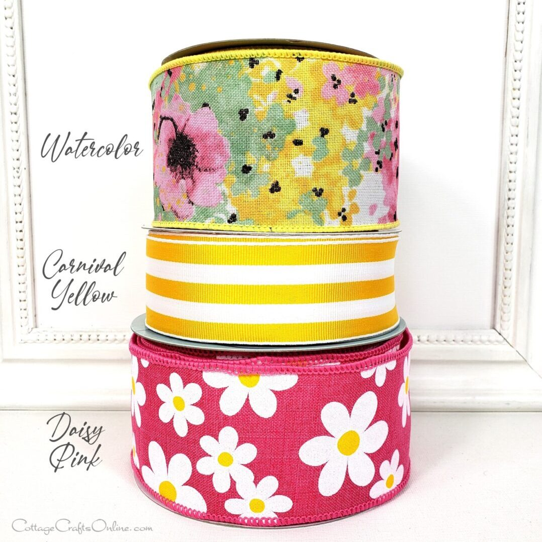 pink floral watercolor cb pink yellow carnival green combo daisy pink