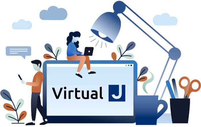 "Illustrative logo for the Virtual JCC, featuring a desktop computer that reads ""Virtual J,"" a desk lamp, coffee mug, pencil cup, two people lounging on the computer and using mobile devices with flower and cloud details in the background."