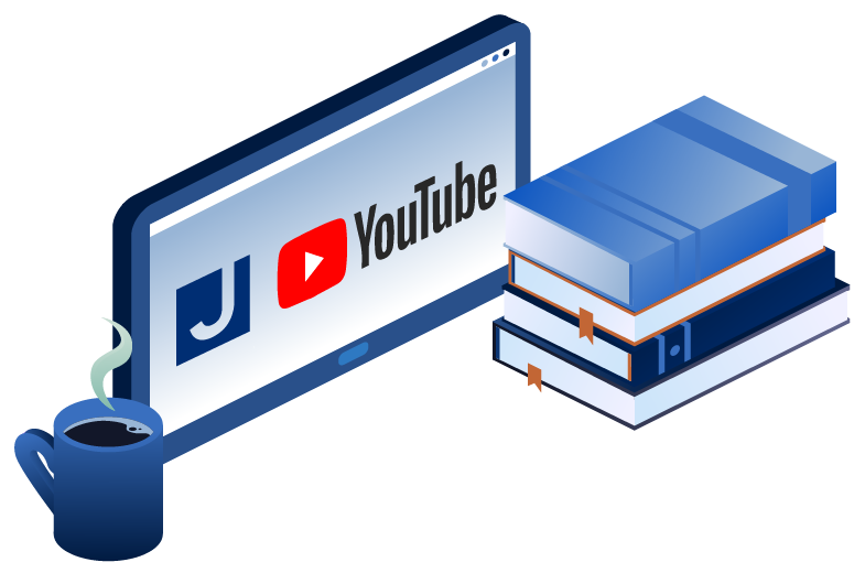 An illustration showing a desktop computer screen set on JCC's YouTube account with a few books and a cup of coffee next to it.