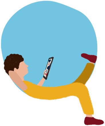 An illustration featuring a person lounging in yellow, reading off of a tablet on a blue circle background.