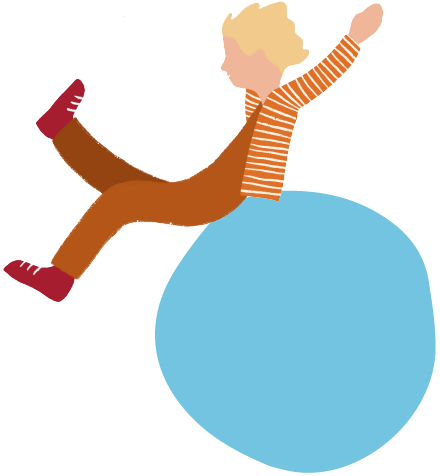 An illustration featuring a person in orange, playing atop a light blue bubble.