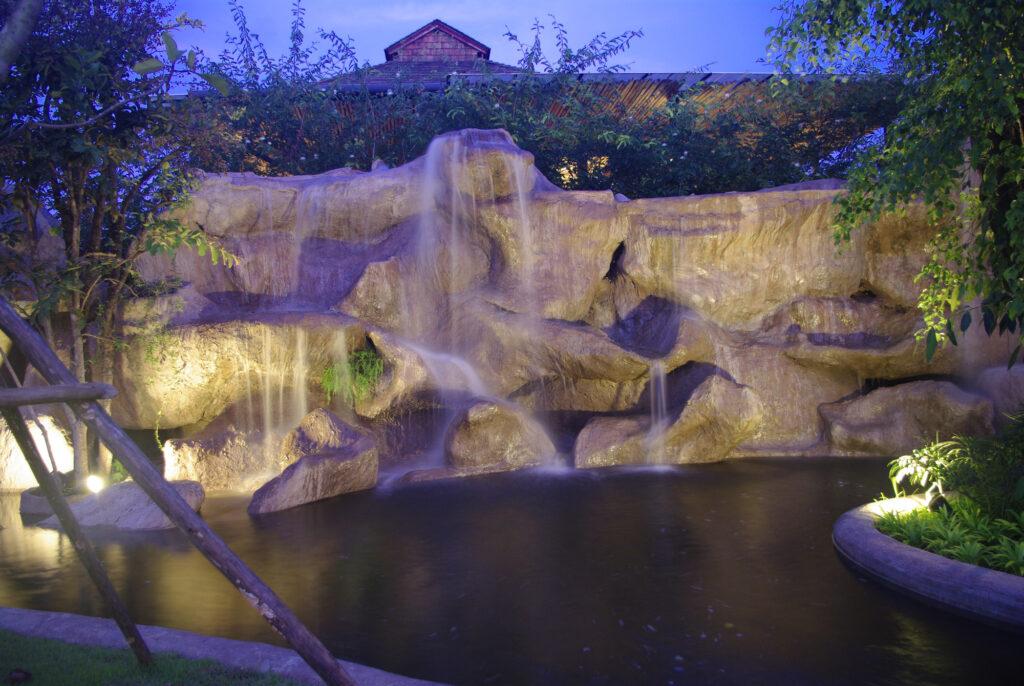 Rich Miller Landscape Design Waterfall Fountain Lighting Night